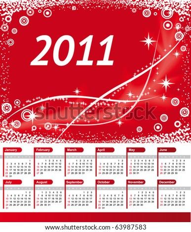 2011 calendar red. stock vector : Vector 2011 Calendar with red wave background
