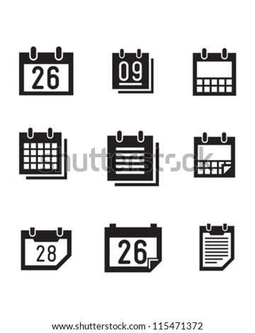 Vector calender symbols and icons.