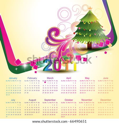 vector calender with christmas tree