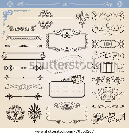 Vector calligraphic decoration elements set, all elements isolated from background