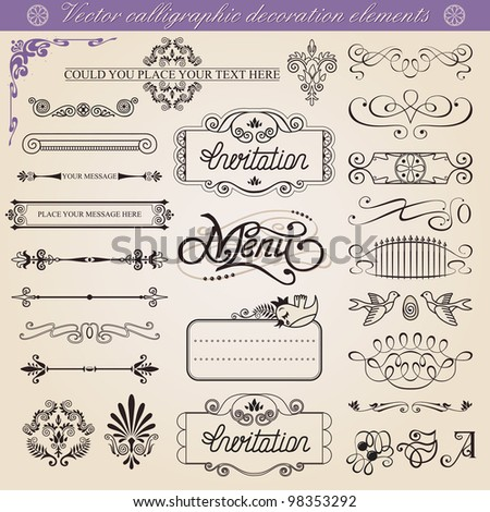 Vector calligraphic decoration elements set,  vintage inspirated to embellish your layout.