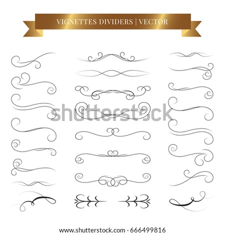Vector calligraphic design set. Vintage book vignettes, dividers and separators.