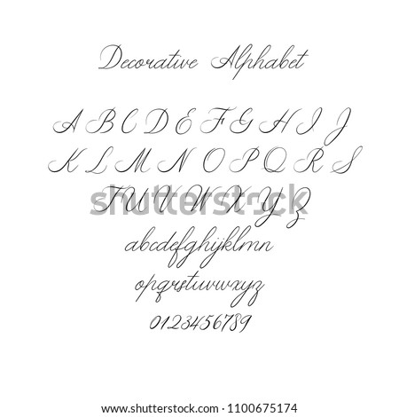 Vector Calligraphy Alphabet. Exclusive Letters. Decorative handwritten brush font for: Wedding Monogram, Logo, Invitation. Wedding font isolated on white background