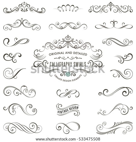 Vector calligraphy swirls, swashes, ornate motifs and scrolls.