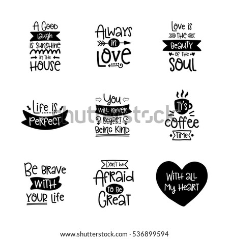 Vector calligraphy with decor elements. Hand drawn lettering collection. Funny posters.