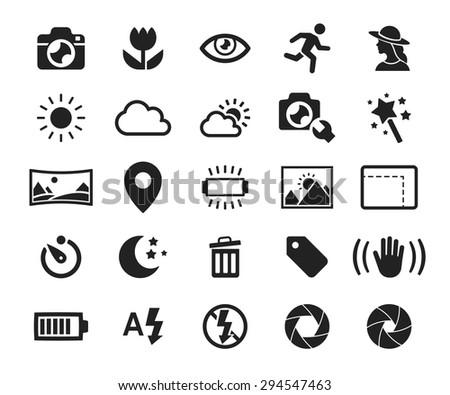 Vector camera functions & menu icons set // 01 ストックフォト ©