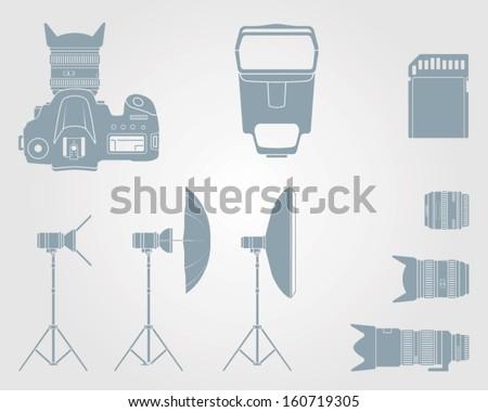vector camera icon and camera accessories icons