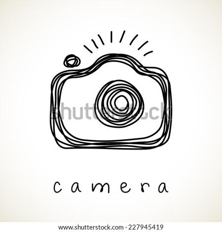 vector camera icon doodle hand