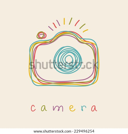 Vector camera icon. Doodle hand drawn sign in sketch childish style. Original decorative illustration for print, web