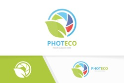 Vector camera shutter and leaf logo combination. Lens and eco symbol or icon. Unique photo and organic logotype design template.