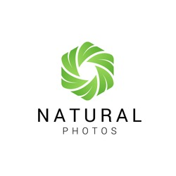 Vector camera shutter and leaf logo combination. Unique photo and organic logotype design template. - Vector