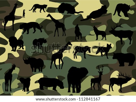 vector camouflage background with animal silhouettes