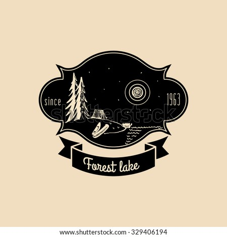Vector camp logo. Camping logotype. Vintage camping sign. Camp icon. Vector hand drawn camp illustration. Hipster camping logo.