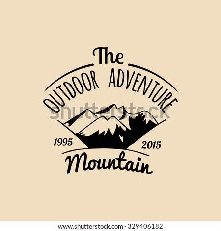 Vector camp logo. Tourism sign with hand drawn mountains landscape. Retro hipster emblem, badge, label of outdoor adventures.