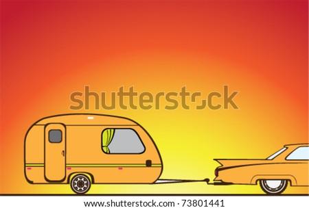 vector camper trailer vintage orange artwork