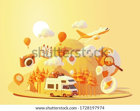Vector camper van travel summer adventures illustration. Retro caravan road trip. Road between mountains with pine trees, hot air balloons. Summer vacation and tourism in RV. Holiday nostalgia