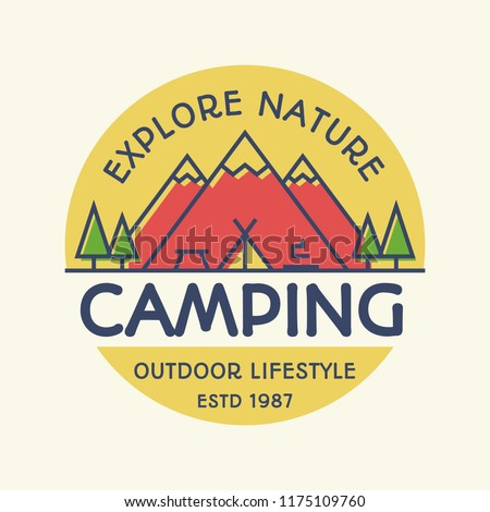 Vector camping banner colorful style with mountains, tent, fire and trees for travel badge, tourist symbol, explore emblem, expedition label, hiking sticker, climbing, poster, kids camp, logo. 10 eps