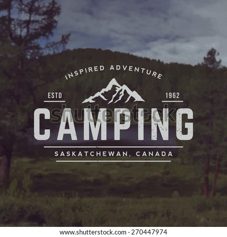 vector camping emblem. outdoor activity symbol with grunge texture on mountain landscape background