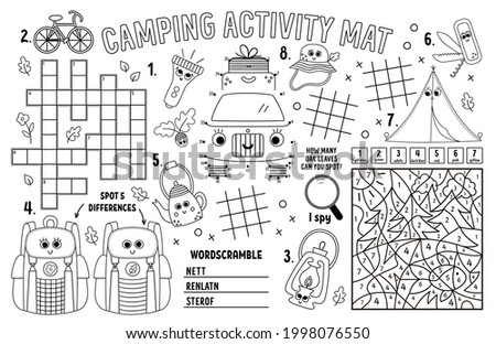 Vector camping placemat. Summer camp holidays printable activity mat with maze, tic tac toe charts, connect the dots, crossword, color by number. Black and white play mat or coloring page Stock photo ©