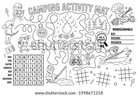 Vector camping placemat. Summer camp holidays printable activity mat with maze, tic tac toe charts, connect the dots, wordsearch. Black and white play mat or coloring page with cute kids Stock photo ©