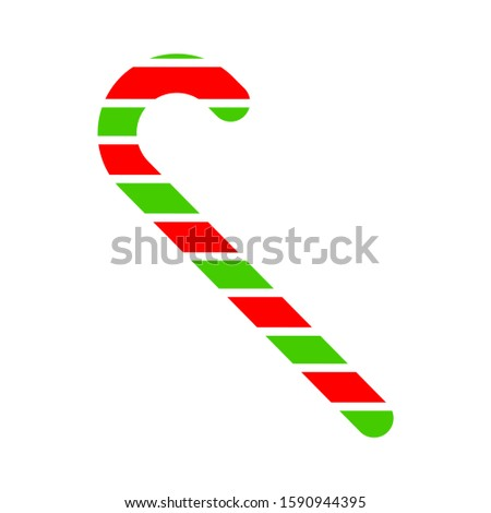 Vector candy cane. Candy cane icon. Christmas symbol. Stripped candy cane