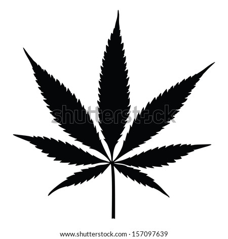Vector cannabis leaf silhouette on white background. Marijuana.