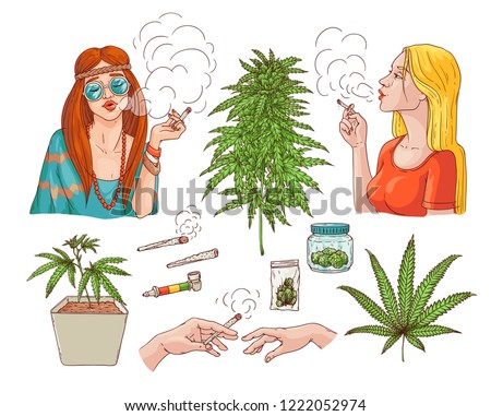vector cannabis smoking sketch
