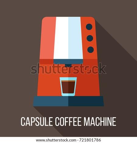 Vector capsule coffee machine illustration. Flat style. Сток-фото ©