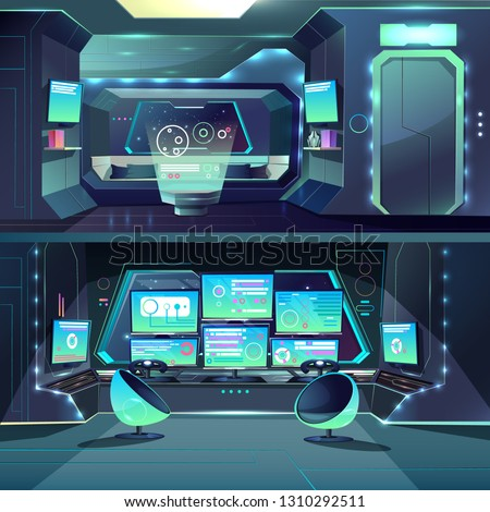 Vector captain cabin in the futuristic spaceship with datacenter, interfaces and servers. Cartoon interior of alien orlop, cockpit in spacecraft, interstellar rocket. Science fiction, game background.