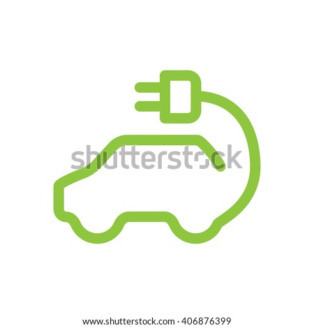 Vector car icon in thin line style. Hybrid Vehicles logo. Green logotype. Eco friendly auto or electric vehicle concept on white background.   #406876399
