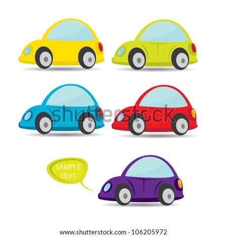 vector car icon set color
