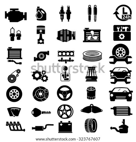 vector car parts set icons