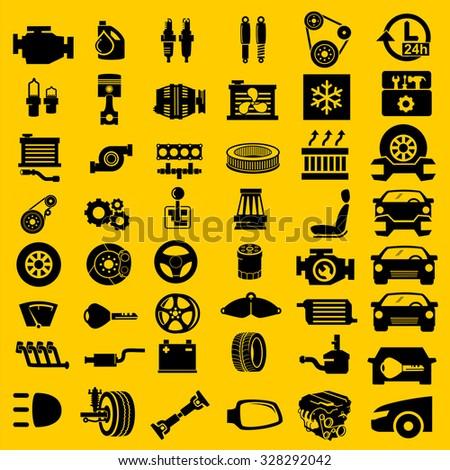 Vector car parts set icons
