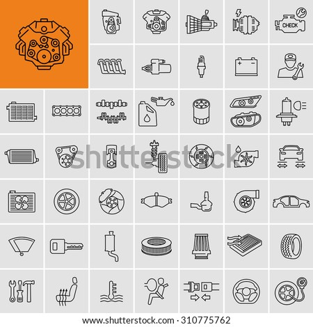 vector car parts set outline