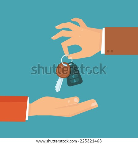 Vector car rental or sale concept in flat style - hand holding car key