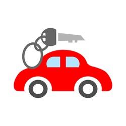 Vector car rentals label, logo, icon, emblem. Concept image for automobile repair service, spare parts store, rent a car