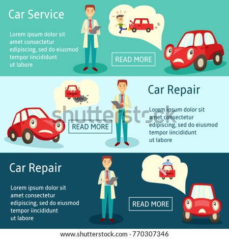 vector car service manager banners, infographics set. flat man car service manager holding clipboard and pen and car characters thinking about different road accidents, situations needed repairing.