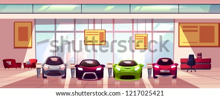 Vector car showroom - new auto dealership in big room. Hall with shop window, glass showcase. Urban business, sale of vehicles, sport transport. Car rental agency interior, horizontal banner