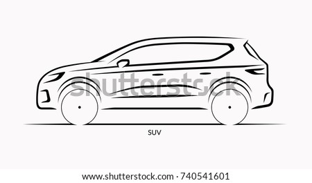 Vector car silhouette. Side view of SUV