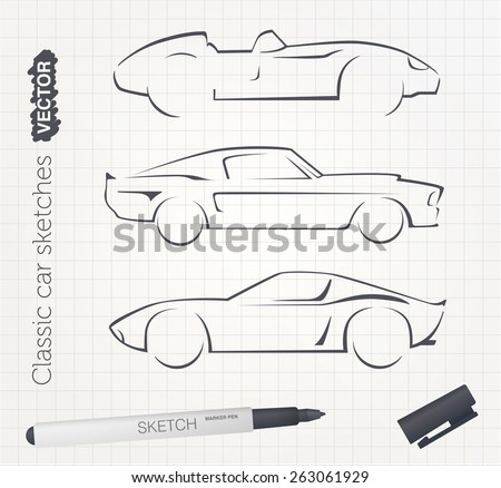 vector car sketches