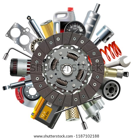 Vector Car Spares Concept with Clutch Disc isolated on white background