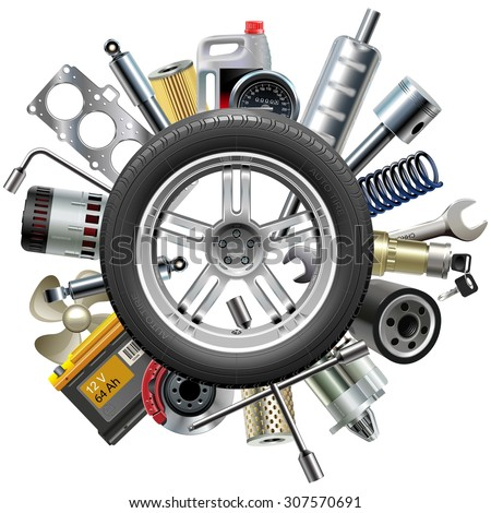 vector car spares concept with