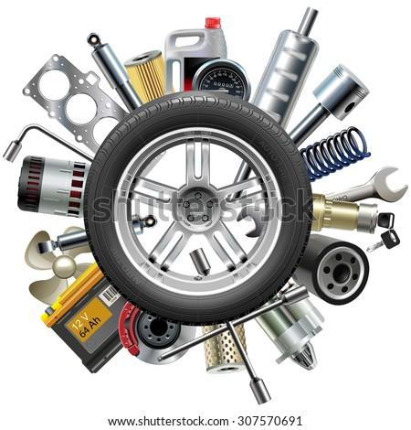 Vector Car Spares Concept with Wheel