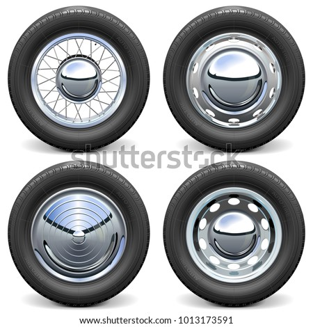 Vector Car Tires with Chrome Disks isolated on white background