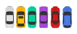 Vector car top view icon illustration. Vehicle flat isolated car icon.