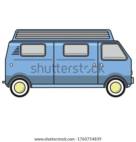 vector caravan car blue drawing Stok fotoğraf ©