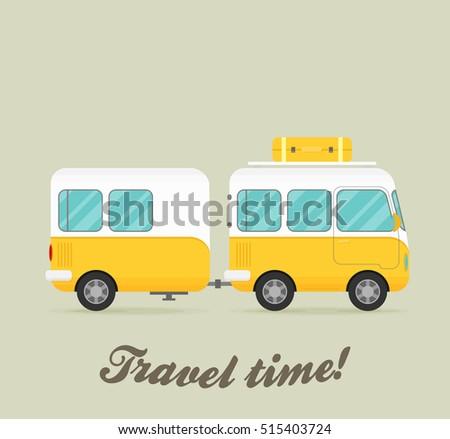 vector caravan trailer end car...