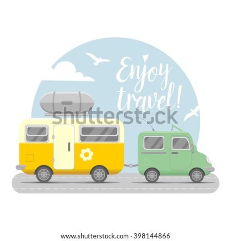 vector caravan trailer end car
