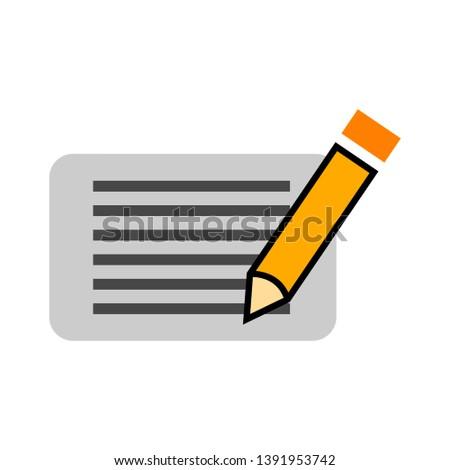 vector card and pencil icon
