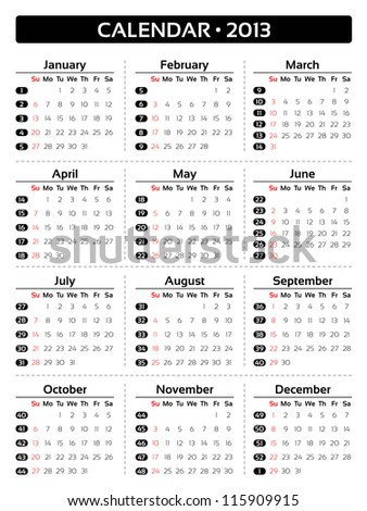 Vector card calendar 2013 - 75x100 mm